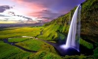 time-lapse-photography-of-waterfalls-during-sunset